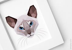 Cat print, Siamese cat, Cat art, Pet portrait, Geometric print, Modern design, Cat illustration, Original illustration, Wall art, tinykiwi by tinykiwiprints on Etsy