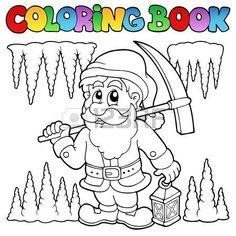minero dibujo: Libro para colorear de dibujos animados enano minero Vectores