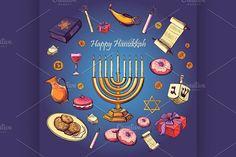 Happy Hanukkah holiday by Netkoff on Creative Market Hanukkah Greeting, Happy Hanukkah, Hanukkah Traditions, Happy Rosh Hashanah, Religion, Holiday List, Holiday Pictures, Wedding Templates, Menorah