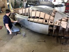 Carlos places panels on the Project Caden fuselage Classic Trucks, Classic Cars, Custom Metal Fabrication, Metal Shaping, Classic Car Restoration, Custom Cars, Concept Cars, Metal Working, Vintage Cars