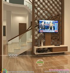 Bedroom interior, staircase design, Living Room design and Kitchen by Greenline Architects & Builders Staircase Interior Design, Drawing Room Interior Design, Home Stairs Design, Home Room Design, Interior Design For Hall, Living Room Partition Design, Room Partition Designs, House Hall Design, Living Tv