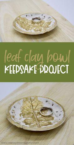 Clay leaf bowl. Air dry clay bowls. Fall leaf craft for kids.