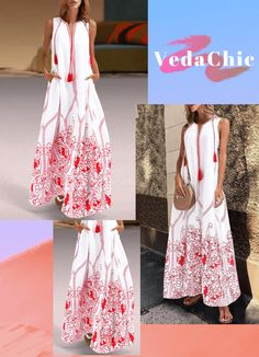 Red Bohemian Shift Printed Pattern Linen Floral Maxi Dresses on Sale at VEDACHIC, free shipping on orders over $49, register now to get 8% off! #vedachic #maxidresses #bohodresses