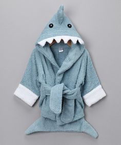 Another great find on #zulily! Blue Let the Fin Begin Shark Robe #zulilyfinds