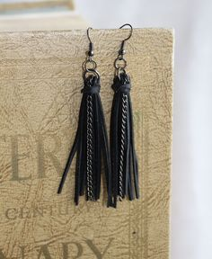 Tassel earring made from up-cycled bicycle inner tube.. $12.00, via Etsy.