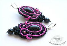 www.facebook.com/... Rękodzieło-biżuteria sutasz. Handmade-soutache jewellery. #black #pink #valentinesday #earrings #kolczyki  #walentynki #prezenty