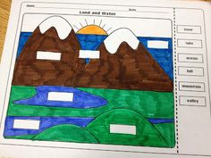 The Lesson Plan Diva: Landforms and Bodies of Water FREEBIE! My kinder students learned landforms quickly from this! Kindergarten Social Studies, Social Studies Classroom, Social Studies Activities, Teaching Social Studies, Science Classroom, Teaching Science, Science Education, Science Activities, Social Science