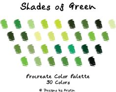 Green Pallete, Green Colour Palette, Color Palate, Copic Color Chart, Bullet Journal Hand Lettering, Green Paint Colors, Paint Color Palettes, Different Shades Of Green, Color Swatches