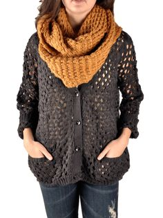 Comfy cardigan and scarf