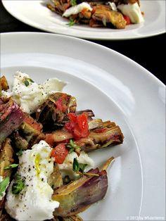 Lauwarmer Artischockensalat mit Büffelmozzarella Vegetable Salad, Snacks, Salads, Beef, Chicken, Vegetables, Food, Starters, Swiss Guard