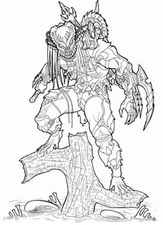 Predator - Swamp Alien Hunter Masked_by Ronniesolano on DeviantArt Adult Coloring Book Pages, Colouring Pages, Coloring Books, Fantasy Warrior, Fantasy Art, Fantasy Character Design, Character Art, Predator Cosplay, Humanoid Creatures