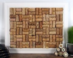Framed corks. I saw something similar to this in a wine tasting room in Edgefield, Oregon and want to do this for when I have my own place and put it in my kitchen