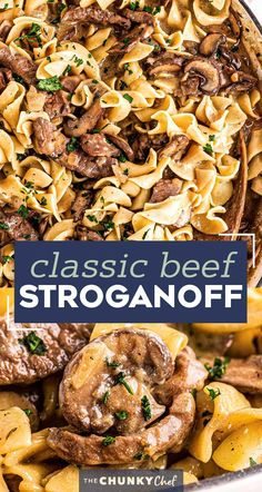 The Ultimate Beef Stroganoff is the most soul-warming comfort food around!  Tender beef strips, mushrooms and onions are smothered in a rich, beefy gravy and tossed with egg noodles.  Ready in about 30 minutes, it's a fabulous weeknight dinner option! #beef #beefstroganoff #stroganoff #comfortfood #dinner #weeknight #30minute #easyrecipe Pork And Beef Recipe, Best Beef Recipes, Pork Recipes For Dinner, Italian Dinner Recipes, Delicious Dinner Recipes, Ground Beef Recipes, Lunch Recipes, Pasta Recipes, Favorite Recipes