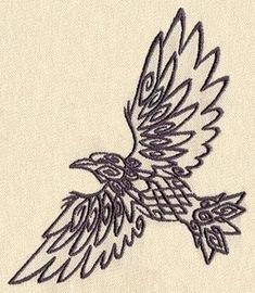 Outline Flying Norse Raven Tattoo Design
