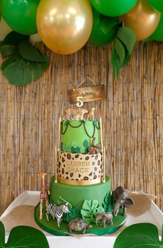 Leopards, Tigers and Co. - Wild Jungle Party for the Birthday - Kindergeburtstag - Safari Party, Jungle Party, First Birthday Cakes, 5th Birthday, Birthday Parties, Jungle Theme Birthday, Animal Birthday, Cheetah Birthday, Birthday Party Decorations Diy