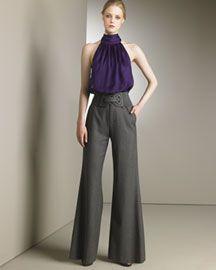 Alice Olivia Pleated Tie Neck Top Herringbone High Waist Pants - Stylehive