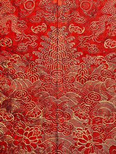"The Costume Institute's biggest show ever, ""China: Through the Looking Glass,"" is on display at The Metropolitan Museum of Art. It highlights how Western fashion and art is inspired by Chinese design. Pictured here: Detail of Festival Robe, Qing dynasty Chinese Culture, Chinese Art, Chinese Painting, Chinese Opera, Chinese Design, Chinese Style, Art Chinois, Chinese Patterns, Chinese Embroidery"