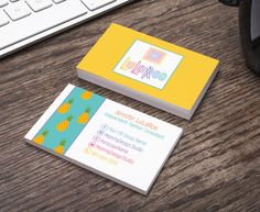 LuLaRoe Business Card-Home Office Compliant Horizontal - Pineapples - Yellow - Teal by MommyDesignStudio on Etsy https://www.etsy.com/listing/490179611/lularoe-business-card-home-office