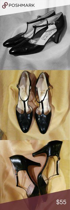 Ferragamo Classic T-Strap Pumps Beautiful. Flattering. Delicate gold buckles. Excellent condition. Ferragamo Shoes Heels