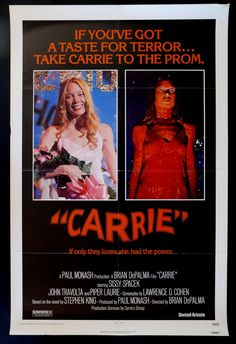 CARRIE movie poster film poster one sheet  1976 SISSY SPACEK $155