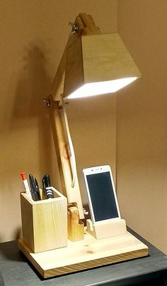 LIGHTING - OFFICE WOOD LAMP Office Lighting, Cool Lighting, Lighting Design, Desk Light, Table Lamp Wood, Wood Lamps, Lamp Design, Wood Design, Light Fittings