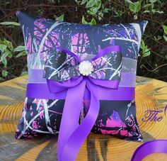 Muddy Girl Camo Ring Pillow with Purple TheMomentWeddingBoutique