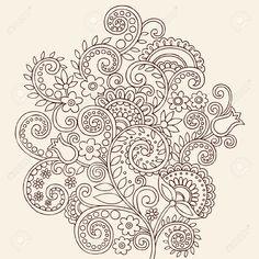 Dessinées à La Main De Paisley Mehndi Henna Journal Fleurs Et élément De Design De Vignes Vector Illustration Clip Art Libres De Droits , Vecteurs Et Illustration. Image 8579817.