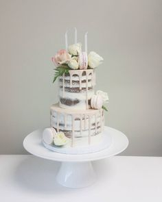 Happy Birthday to a special birthday girl! Two tiered naked cake with blush drizzle, macarons and flowers♡ #birthdaycake #happybirthday #birthday #nakedcake #dripcake #drizzlecake #ganache #lemoncake #cakebynicolemceachnie #love #vancouver #birthdayparty #pastry #macarons #birthdayparty #cakedecorating #wedding #weddingcake #weddingcakes #weddinginspiration