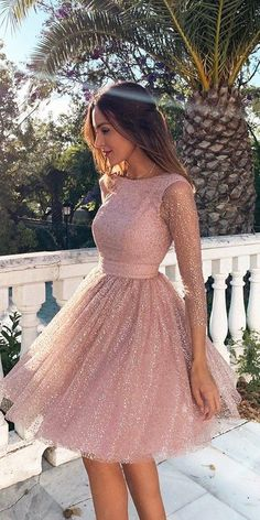 Sleeves Short Prom Dress Pink Homecoming Dress with Open - Homecoming Dresses Long Sleeve Homecoming Dresses, Hoco Dresses, Mini Dresses, Sexy Dresses, Summer Dresses, Short Dresses With Sleeves, Pretty Dresses, Sparkly Homecoming Dresses, Awesome Dresses