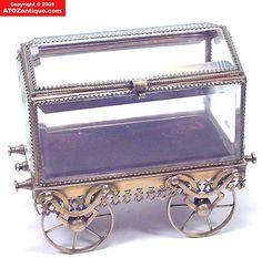 Victorian Brass Beveled Glass Jewelry Casket Box