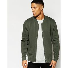 ASOS Jersey Bomber Jacket With Snaps In Khaki (225 DKK) ❤ liked on Polyvore featuring men's fashion, men's clothing, men's outerwear, men's jackets, khaki, mens tall jackets, mens cotton bomber jacket, asos mens jackets, mens cotton jacket and mens fitted leather jacket