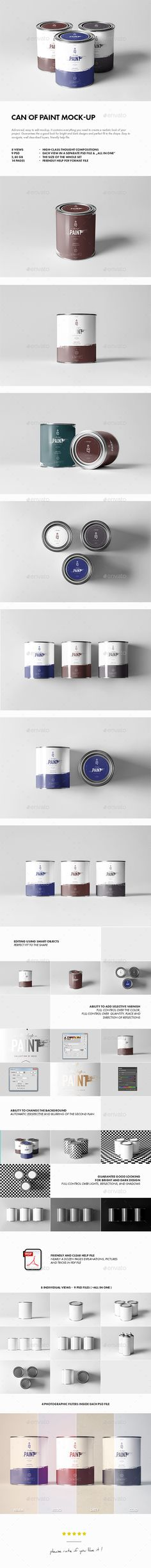 Can of Paint Mockup — Photoshop PSD #mock #metal • Available here → https://graphicriver.net/item/can-of-paint-mockup/17740668?ref=pxcr