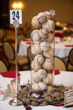 Baseball-themed centerpieces at Opportunity Partners' Red & White Ball #centerpiece #baseball #events https://www.flickr.com/photos/opportunitypartners/sets/72157644238847741/