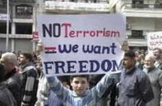 """#Syria Protest for #HumanRights and #Dignity  """"NOT TERRORISM! We Want #Freedom"""""""
