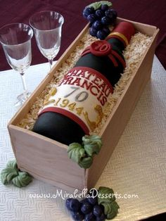 I made this cake for my father who just celebrated his birthday! He loves fine wines and so I had the idea of making a cake designed to be a wine bottle in a crate. The cake is edible, with the wine bottle moulded out of gumpaste and. Birthday Cake Wine, Birthday Cakes For Men, 60th Birthday, Cupcakes, Cupcake Cakes, Wine Bottle Cake, 50th Cake, Gateaux Cake, Novelty Cakes