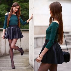 Get this look: http://lb.nu/look/7899468  More looks by Ariadna Majewska: http://lb.nu/ariadna92  Items in this look:  Black Leather Skirt, Green Top   #chic #elegant #minimal