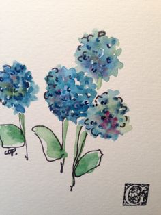 Blue Hydrangea Watercolor Card от gardenblooms на Etsy, $3.50