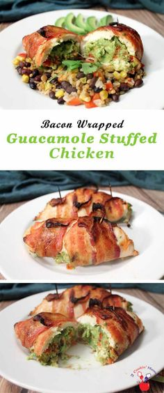 guacamole-stuffed-chicken-main | 2 Cookin Mamas Guacamole stuffed chicken breasts are wrapped around one of everyone's favorite dips, guacamole. Add a little bacon, 'cause everything's better with bacon, for a quick & easy meal that will wow your guests. #recipe #dinner