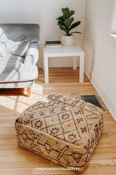 Handmade upcycled Moroccan floor cushion (also known as a 'pouf') made from vintage rugs. Floor cushions add a bohemian flair to any space, and can be used as floor seating, pet beds, ottomans, and more! Lucky Collective Moroccan Floor Cushions, Easy Fill, Classic Living Room, Floor Seating, African Mud Cloth, Wool Pillows, Bohemian Living, Pet Beds, Ottomans