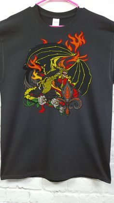 Black Dragon dragon fantasy mythic beast t-shirt by SpiffyRags
