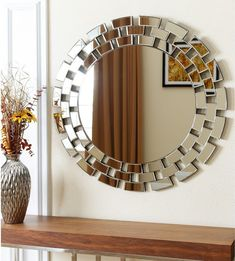 Give your workplace or home decor a chic feel with this glass round wall mirror from Abbyson Living. Constructed of glass and wood with a silver color, this product can be dusted and wiped clean with glass cleaner. This mirror offers unique style. Fancy Mirrors, Oversized Wall Mirrors, Round Wall Mirror, Circle Mirrors, Decorative Mirrors, Table Mirror, Mirror Mirror, Mirror Decor Living Room, Wall Decor