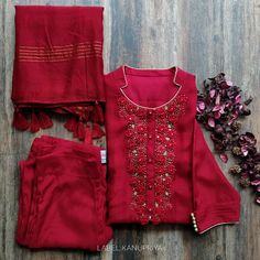 Dola Silk Kurta with Cutwork on Gher (Front - Back) and Sleeves Slim Fit Pants - Design interests Sharara Designs, Kurta Designs Women, Kurti Designs Party Wear, Blouse Designs, Dress Designs, Designer Kurtis, Indian Designer Suits, Indian Designers, Dress Indian Style