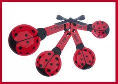 Ceramic Measuring Spoons by Ganz - 4 Piece Set - Ladybugs Ladybug Girl, Kitchen Themes, Kitchen Ideas, Cute Kitchen, Class Decoration, Black Spot, Measuring Spoons, Spoon Rest, Kitchen Gadgets