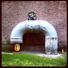 Luigi gets money - Perler bead street art by paddywaxdesign