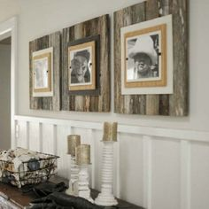 """Use pallets to make these Extra large frames (22"""" x 22"""") with a burlap wrapped interior frame to feature an 8"""" x 10"""" photo."""