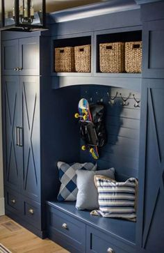 Blue cabinets in mudroom. Mudroom, Farm House Living Room, Room Design, Home, House With Porch, Porch Design, Mudroom Design, Laundry Room Colors, Mud Room Storage