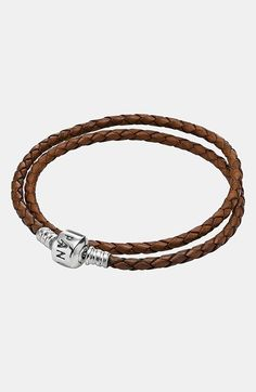 PANDORA Leather Wrap Charm Bracelet | Nordstrom