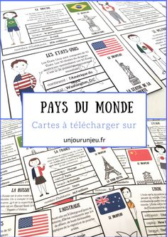 Here are some small cards to print from different countries to discover … French Teacher, Teaching French, French Classroom, School Classroom, Geography Map, Education Degree, Cycle 3, French Immersion, Classroom Language