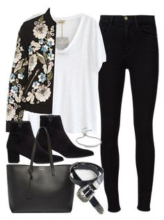 """""""Outfit with a bomber jacket"""" by ferned ❤ liked on Polyvore featuring Frame Denim, American Vintage, Stuart Weitzman, Needle & Thread, Yves Saint Laurent and Monica Vinader"""