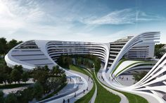 genius arab architecture: Zaha Hadid's beko masterplan in Belgrade (view1) • free-flowing blending dynamic urban architecture, residential + commercial zone • she is Iraqi; b. 1950-10-31, 64 in 2015 https://en.wikipedia.org/wiki/Zaha_Hadid • official site: www.zaha-hadid.com